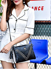 Mature Stylish All Black Fringe Decoration Clutches