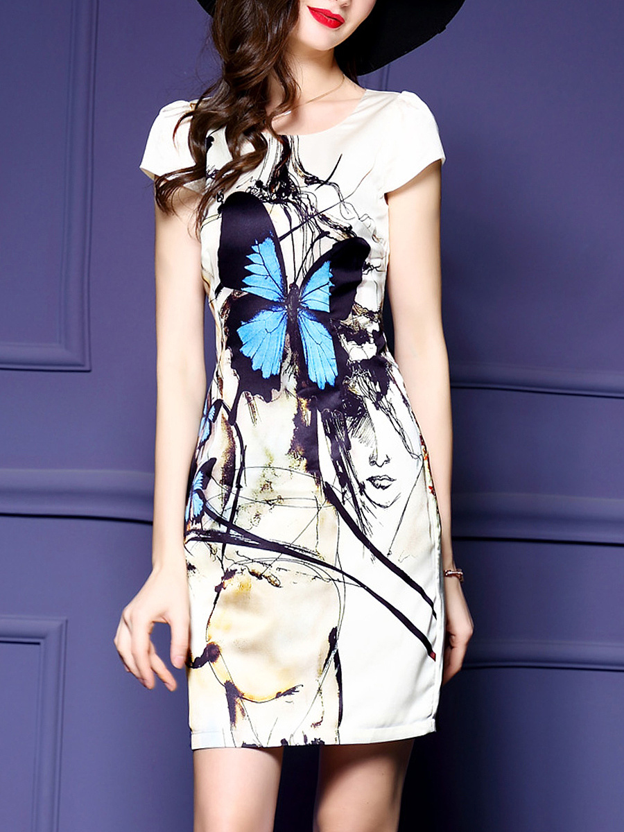 Round Neck Butterfly Printed Bodycon Dress