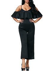Open Shoulder Flounce Plain Straight Jumpsuit