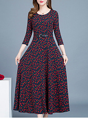 Round Neck  Printed Date Maxi Dress