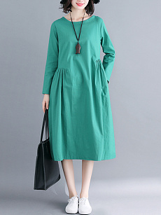 Round Neck  Plain Casual Maxi Dress