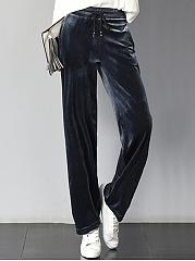 Plain-Velvet-Elastic-Waist-Straight-Casual-Pants