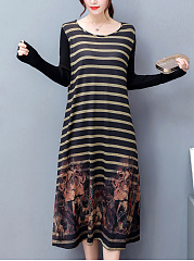 Round Neck Striped Printed Pocket Maxi Dress