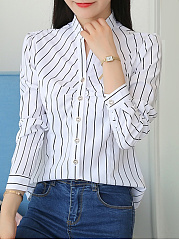 Autumn Spring  Polyester  Women  Band Collar  Striped  Long Sleeve Blouses