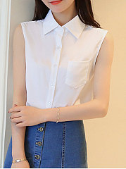 Spring Summer  Cotton  Women  Turn Down Collar  Single Breasted  Plain  Sleeveless Blouses