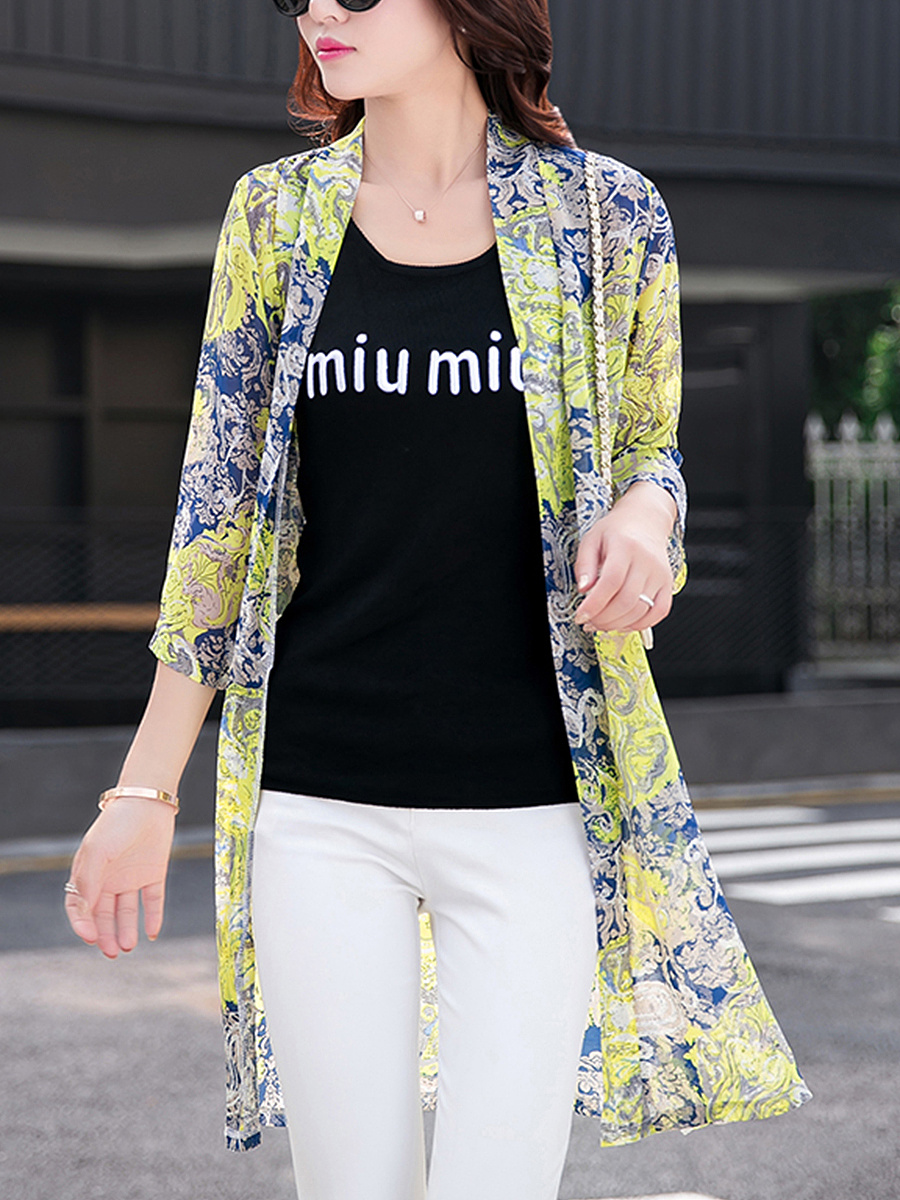 Excellent Collarless Hollow Out Printed Kimono