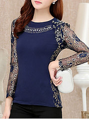 Autumn Spring  Cotton  Women  Round Neck  See-Through  Glitter  Floral  Long Sleeve Blouses