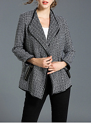 Lapel  Zips  Leather-Trimmed  Plain  Long Sleeve Jackets