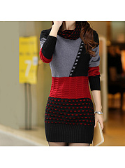 Turtleneck Color Block Knitted Mini Bodycon Dress