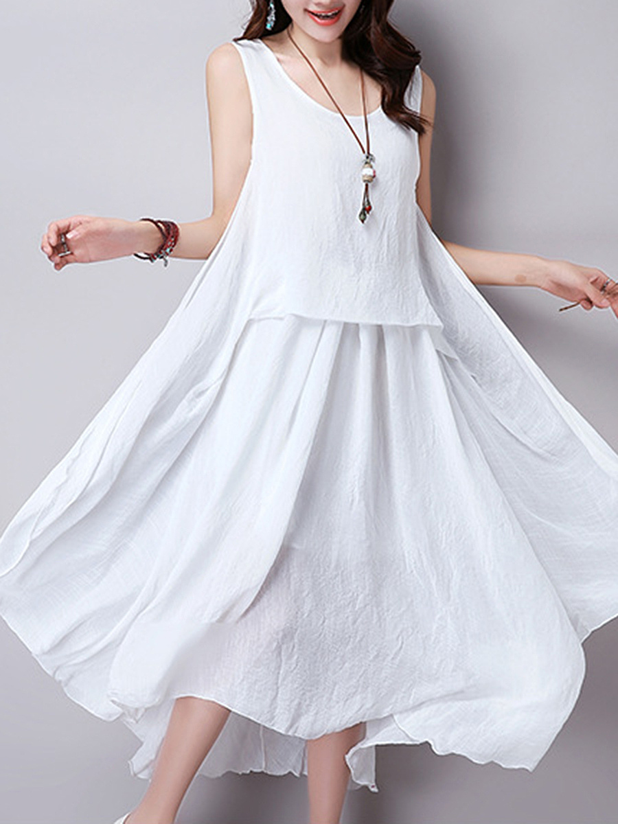 Round Neck  Asymmetric Hem  Plain  Cotton/Linen Maxi Dress