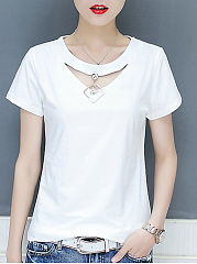 Polyester  Round Neck  Decorative Hardware  Plain  Short Sleeve Short Sleeve T-Shirts