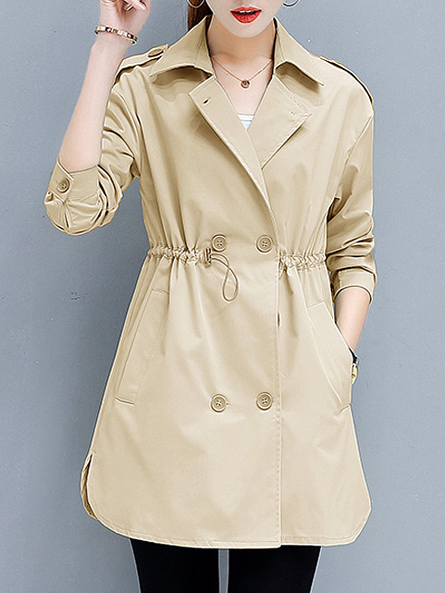 Lapel Drawstring Plain Double Breasted Trench Coat