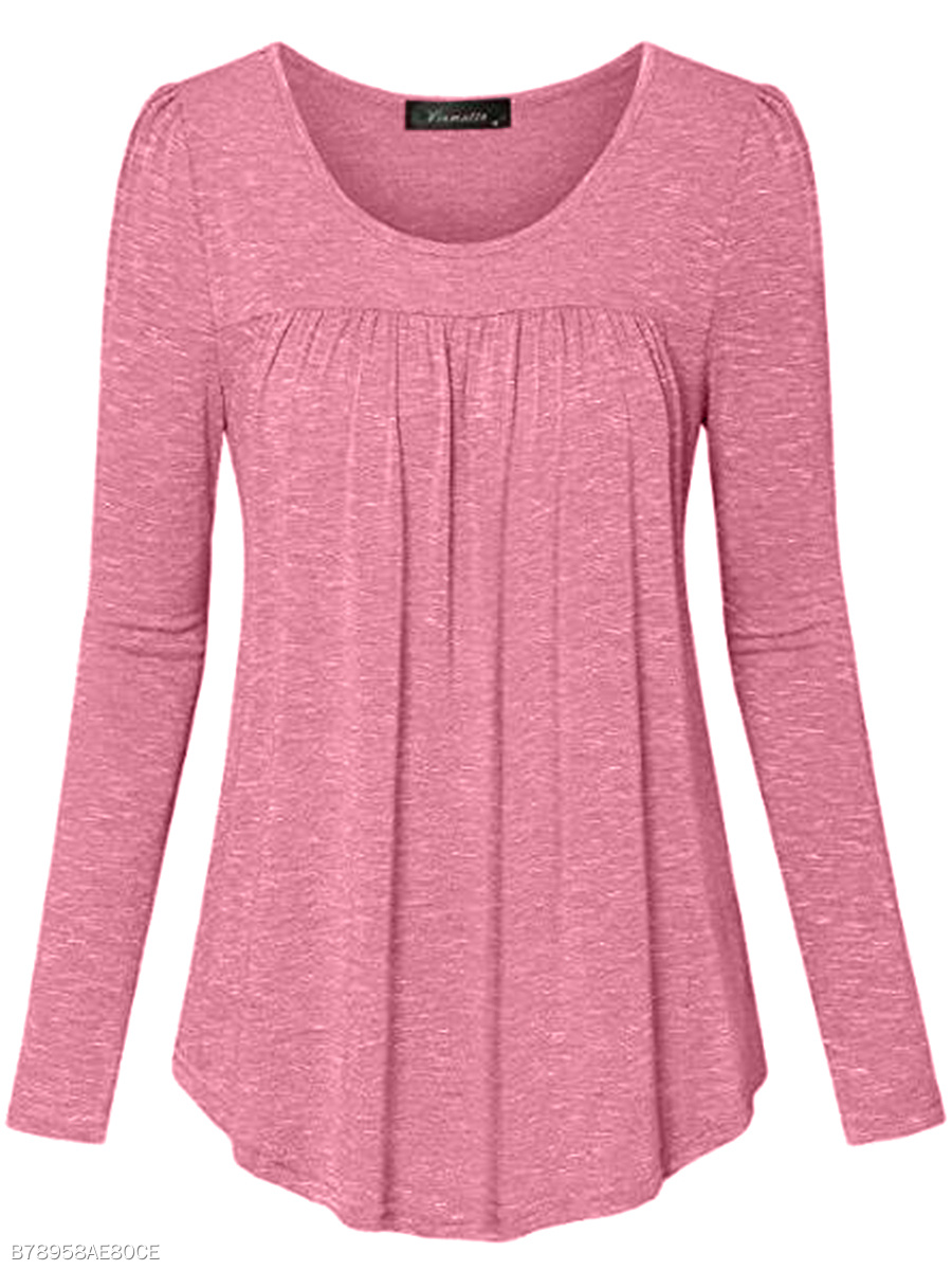 Autumn  Blend  Women  Round Neck  Plain  Long Sleeve Long Sleeve T-Shirts