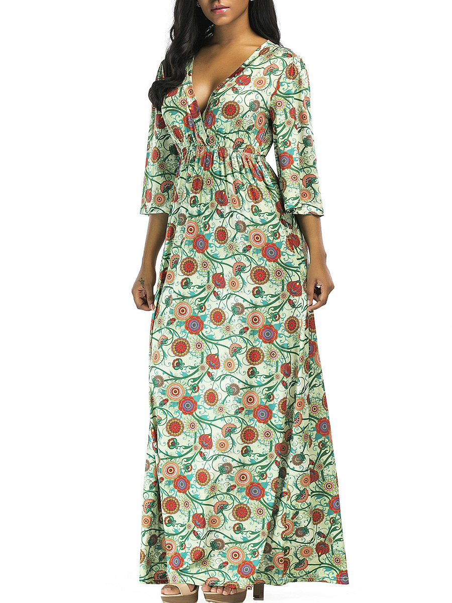 Deep V-Neck Empire Printed Maxi Dress
