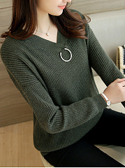 V-Neck  Decorative Hardware  Plain  Long Sleeve Sweaters Pullover