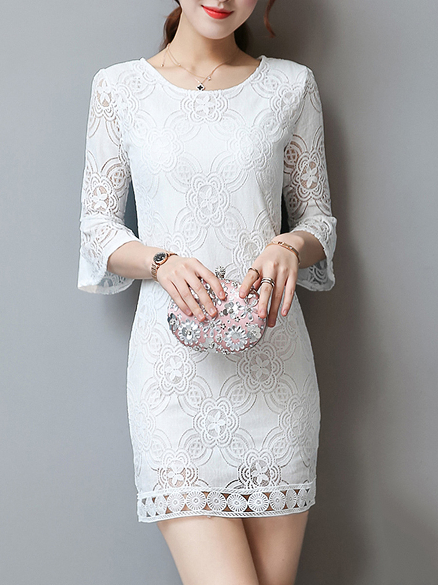 Bell Sleeve Hollow Out Plain Lace Bodycon Dress
