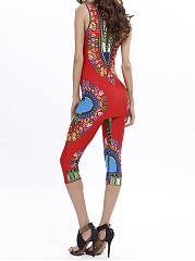Fitted Sleeveless Tribal Printed T-Shirt And Midi Pant