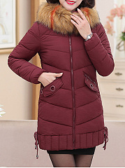 Hooded  Zips  Plain Striped Coats