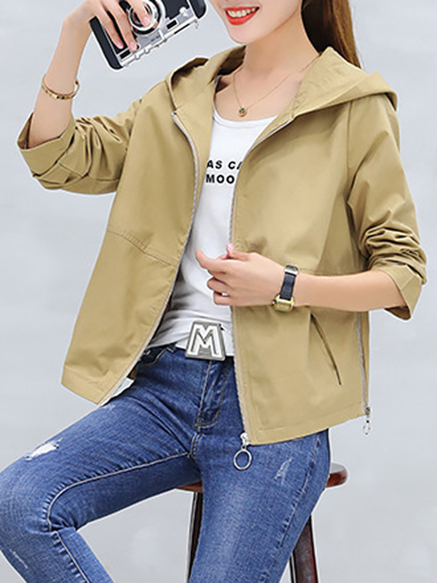 Hooded Pocket Zips Plain Trench Coat