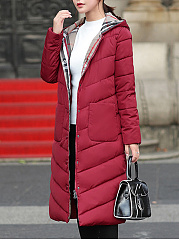Hooded Longline Patch Pocket Padded Coat