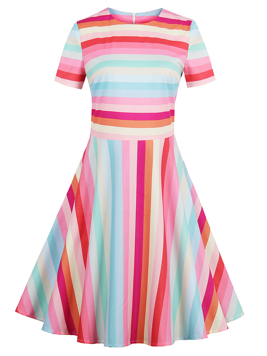 Colorful Striped Round Neck Skater Dress