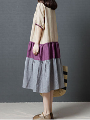 Round Neck  Ruffled Hem  Color Block Maxi Dress
