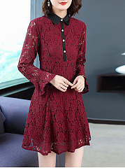 Turn Down Collar  Decorative Button  Hollow Out Lace Plain Skater Dress