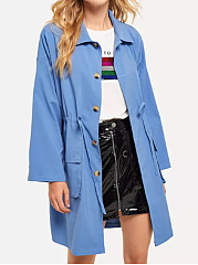Fold-Over Collar  Drawstring Flap Pocket Single Breasted  Plain  Long Sleeve Trench Coats