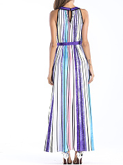 Round Neck  Belt  Color Block Maxi Dress