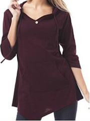 Autumn Spring  Polyester  Women  Hooded  Asymmetric Hem  Decorative Button  Plain Long Sleeve T-Shirts