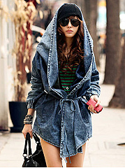 Irregular Lapel Waist Cloak Denim Coat