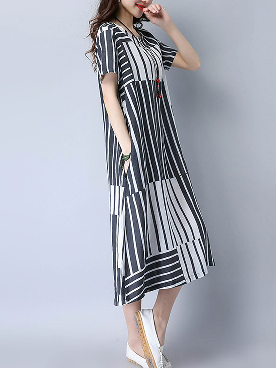 Round Neck Asymmetric Stripe Pocket Maxi Dress. Round ...