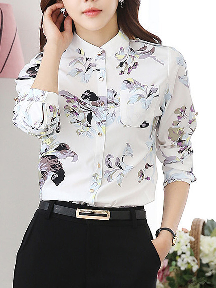 Band Collar Chiffon Floral Printed Blouse
