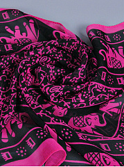 Fashion Retro Cartoon Abstract Print Chiffon Scarf