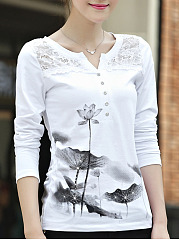 Autumn Spring  Blend  Women  Split Neck  Decorative Lace  Hollow Out Printed Long Sleeve T-Shirts