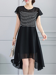 Hollow Out Striped High-Low Round Neck Skater Dress