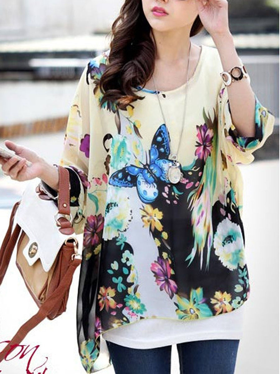 Floral Printed Hollow Out Short Sleeve T-Shirt