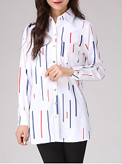 Autumn Spring  Polyester  Women  Turn Down Collar  Striped  Long Sleeve Blouses