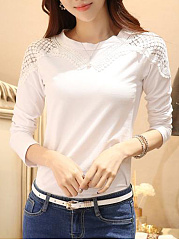 Round Neck  Cutout  Floral Plain Long Sleeve T-Shirts