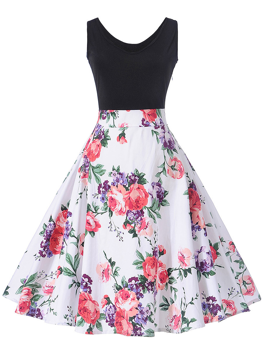 Delicate V-Neck Skater Dress In Floral Printed