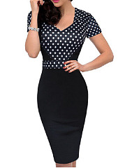 Square Neck  Polka Dot Bodycon Dress