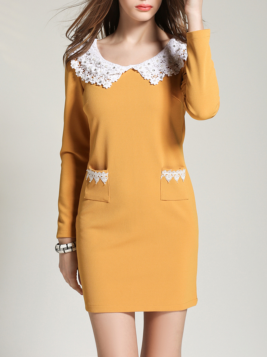 Doll Collar Decorative Lace Patch Pocket Bodycon Dress