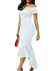Off Shoulder Plain Asymmetric Hem Mermaid Bodycon Dress