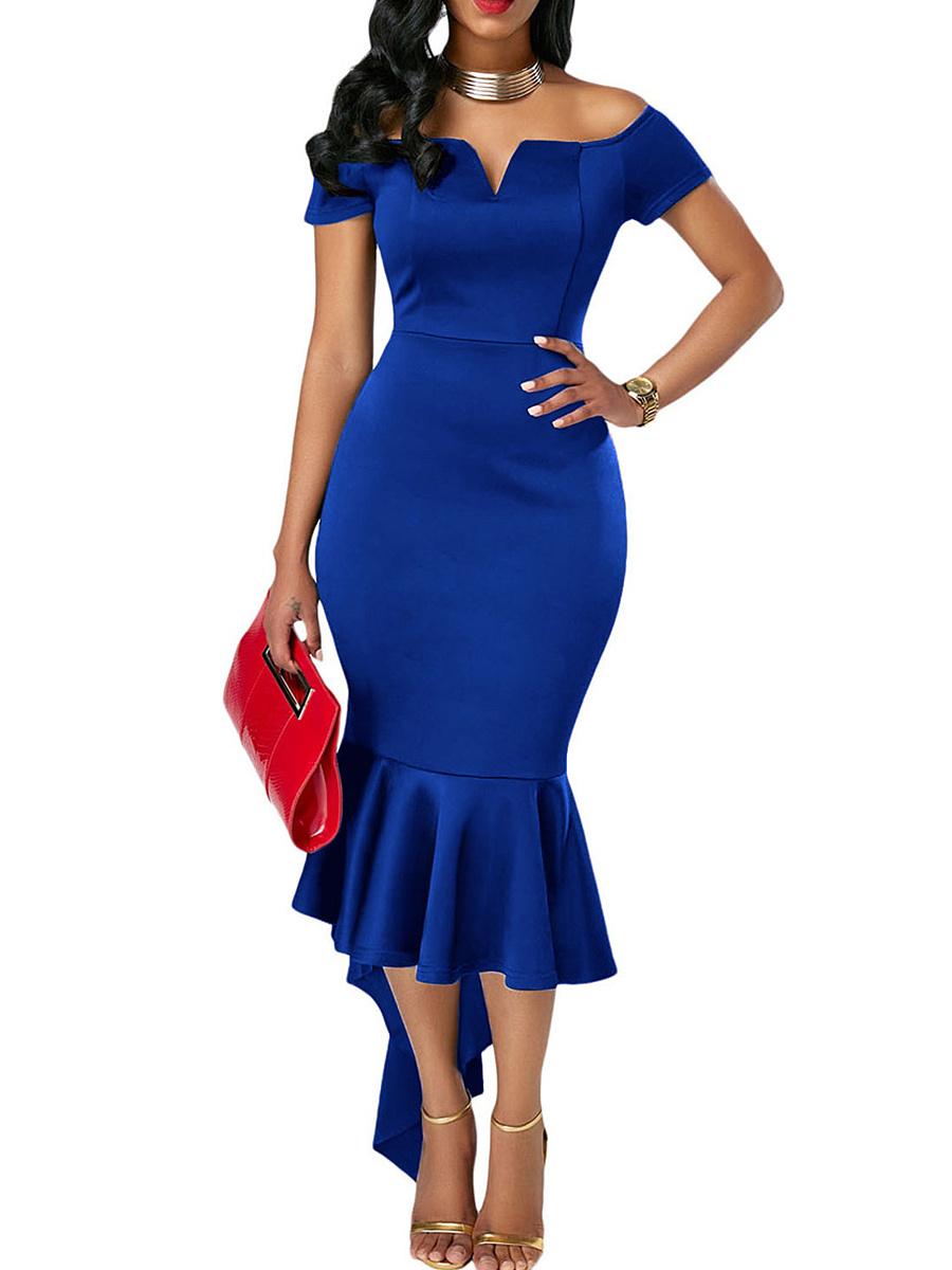 Off Shoulder Plain Asymmetric Hem Mermaid Bodycon Dress. Off ...