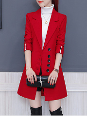 Notch Lapel  Single Breasted  Plain  Cuffed Sleeve Coat