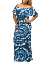 Open Shoulder  Flounce  Color Block Plus Size Midi & Maxi Dress