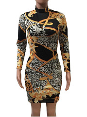 Band Collar  High Stretch  Abstract Print   Wild   Bodycon  Dress