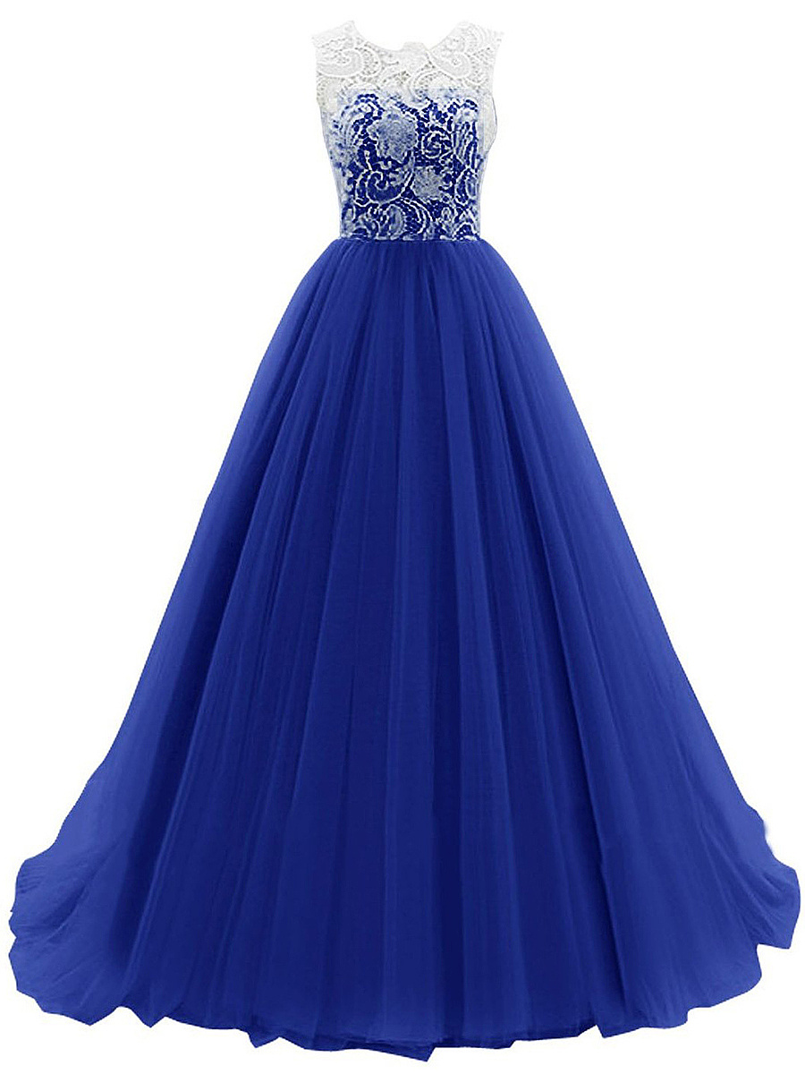 Delicate Hollow Out Patchwork Evening Dress