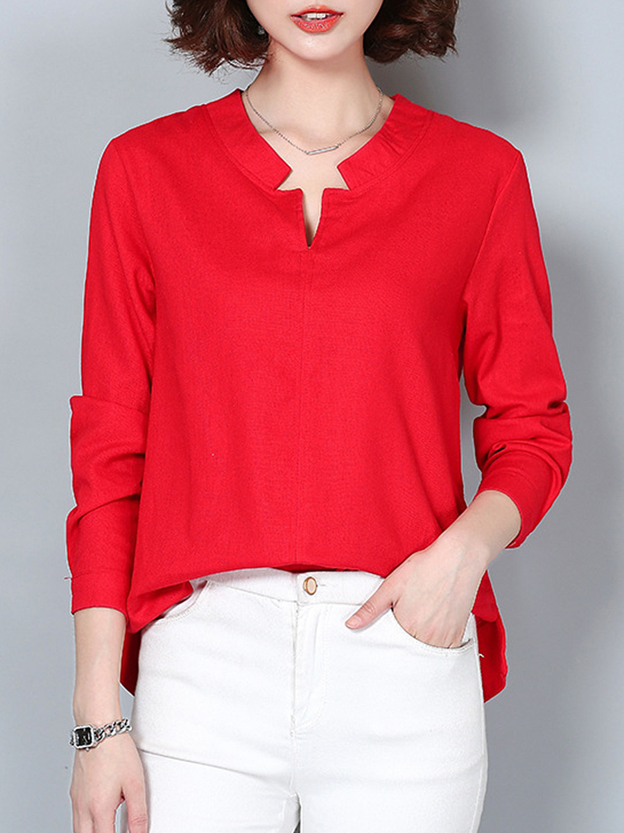 Split Neck  Plain Long Sleeve Blouse