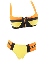 Zips Color Block Push Up Bikini